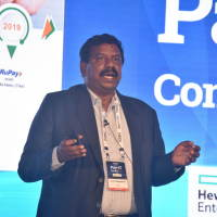 Dr. N Rajendran, CTO, NPCI sharing his views with the audience on NPCI's role in Digital Transformation of Banking Sector