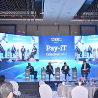 Guests join Jaideep Mehta on the stage for the Panel Discussion  on 'Partner or Perish - Banks and FinTechs'